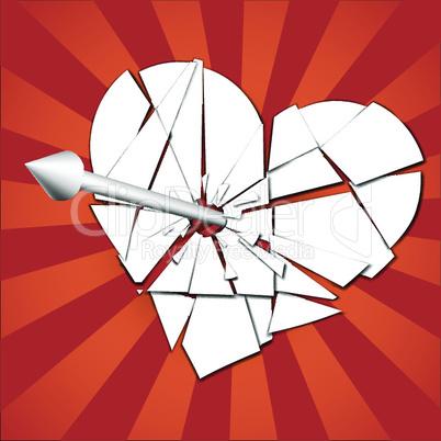 broken heart pierced by an arrow.eps