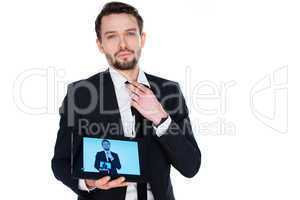 man displaying a handheld tablet computer