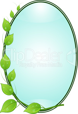 Twig with leaves in oval frame