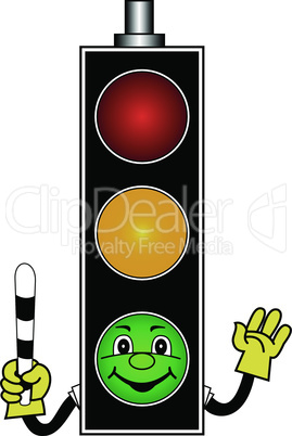 cartoon green traffic light