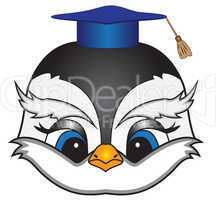 cartoon bird in a square academic cap