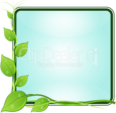 Twig with leaves in square frame