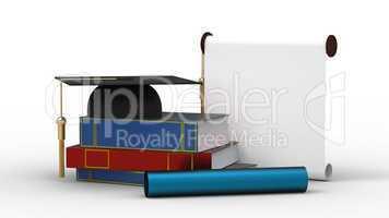 cap, diploma and books