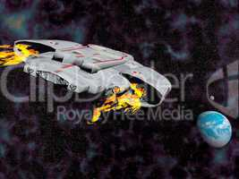 spaceship flying to earth - 3d render