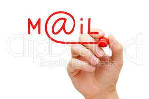 mail concept red marker