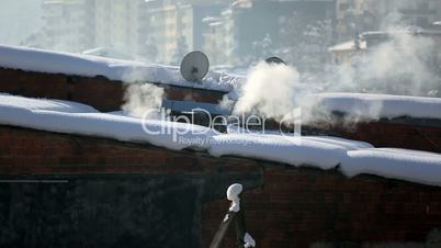 warming and air pollution at winter 2