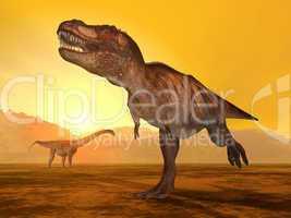 Tyrannosaurus Rex und Puertasaurus