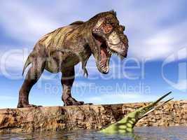 Tyrannosaurus Rex und Hupehsuchus