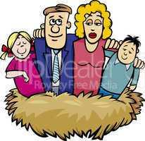 family nest cartoon illustration