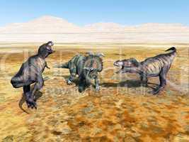 tyrannosaurus rex und albertaceratops