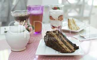 choco cake and a milkshake in confectionery