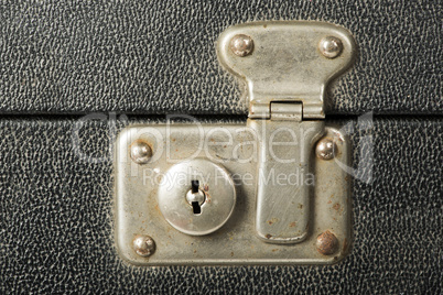 lock of an old travel suitcase