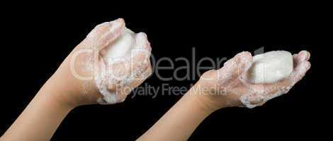 lathered hands and soap
