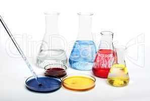 laboratory equipment and color chemicals