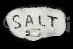 word salt on black background
