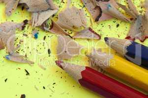 color pencils and pencil peels