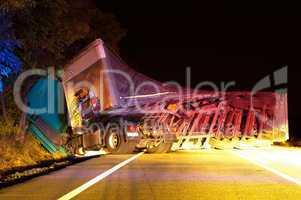 overturned truck in crash