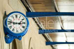 antique external clock on  railway station
