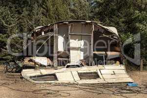 old broken trailer caravan