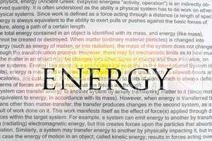 typed text energy on paper