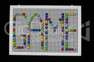 text game on child mosaic