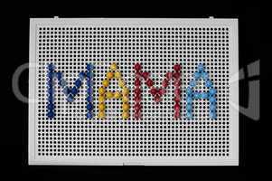 text mama on child mosaic