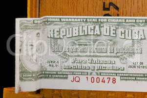 Sticker on box of Cuban cigars