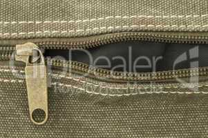 Beige zip on bag