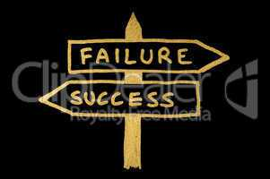 Failure and success conception sign and texts