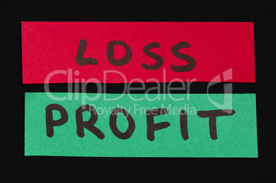 Loss and profit text conception
