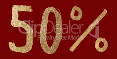 Fifty percent discount shiny digits
