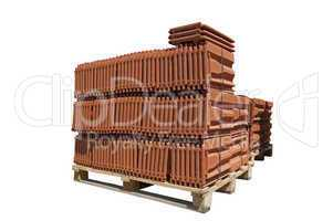 Pile of roofing tiles packaged.