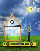 House with tree and sun made of tools for building.White isolate