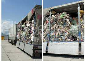 Truck charged with Recycling waste