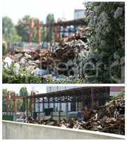 Flowers and piles of scrap iron