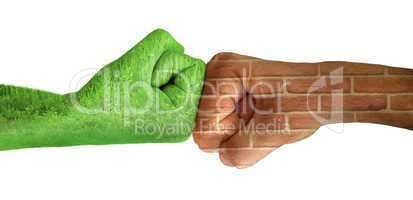 Two hands against each other. Ecology