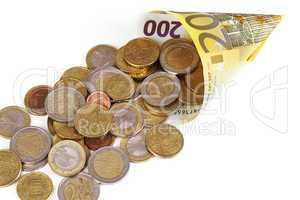 euro paper money and coins