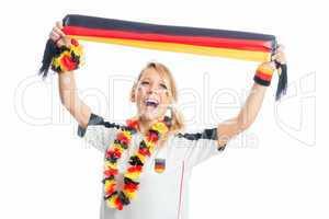 Fußballfrau mit Fanschal