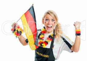 Fußballfrau mit Deutschlandflaggen