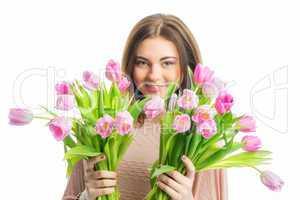 Mädchen mit Tulpen
