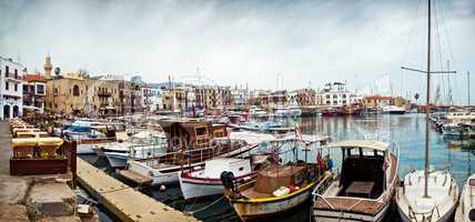 View of historic harbour and old town in Kyrenia