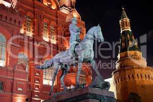 Night view of Marshal Zhukov monument
