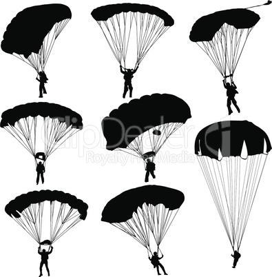 Set skydiver, silhouettes parachuting