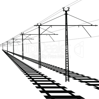Railroad overhead lines. Contact wire.