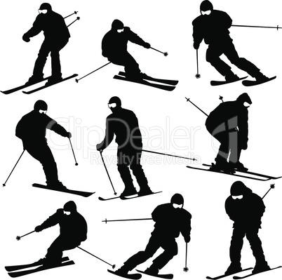 Mountain skier  man speeding down slope