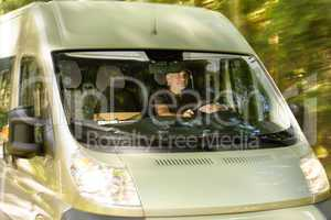 postal delivery courier man drive cargo van