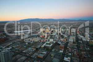 las vegas - circa 2014: vegas sunset aerial panorama, featured w