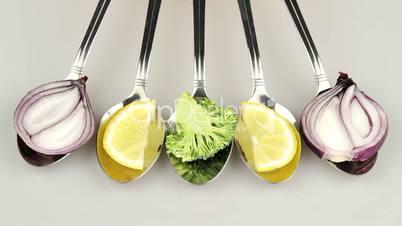 vegetables in spoon