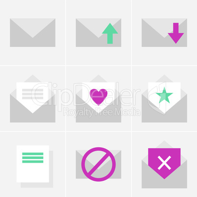 flat mail icons for mobile and web
