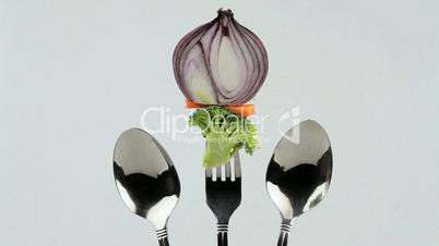 vegetables in holder one